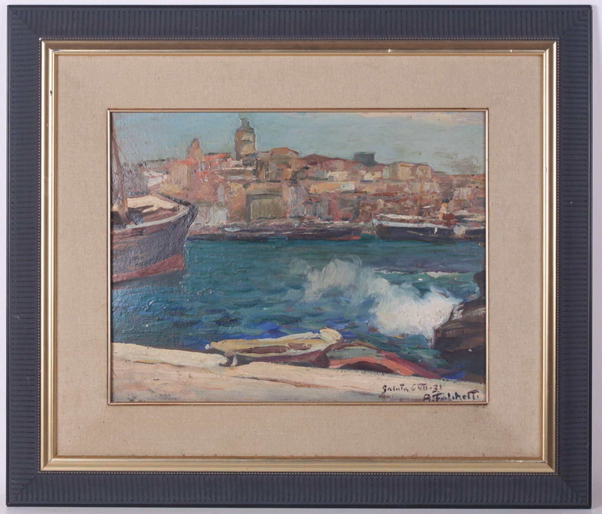 Falchetti, Alberto. Galuta. 1931. Oil on canvas. 36x45 cm.<br>Signed and framed. - Bild 3 aus 4