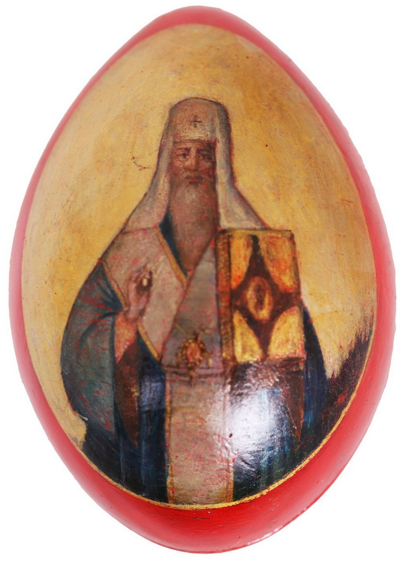 Russian Easter egg with a lacquer miniature. - Lukutin factory, second half 19th century. - 10x7 cm. - Bild 2 aus 5