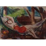 Unknown artist. A woman in a hammock. <br>Signed and framed. 1910s. Paper, pastel, mixed media. 43,5