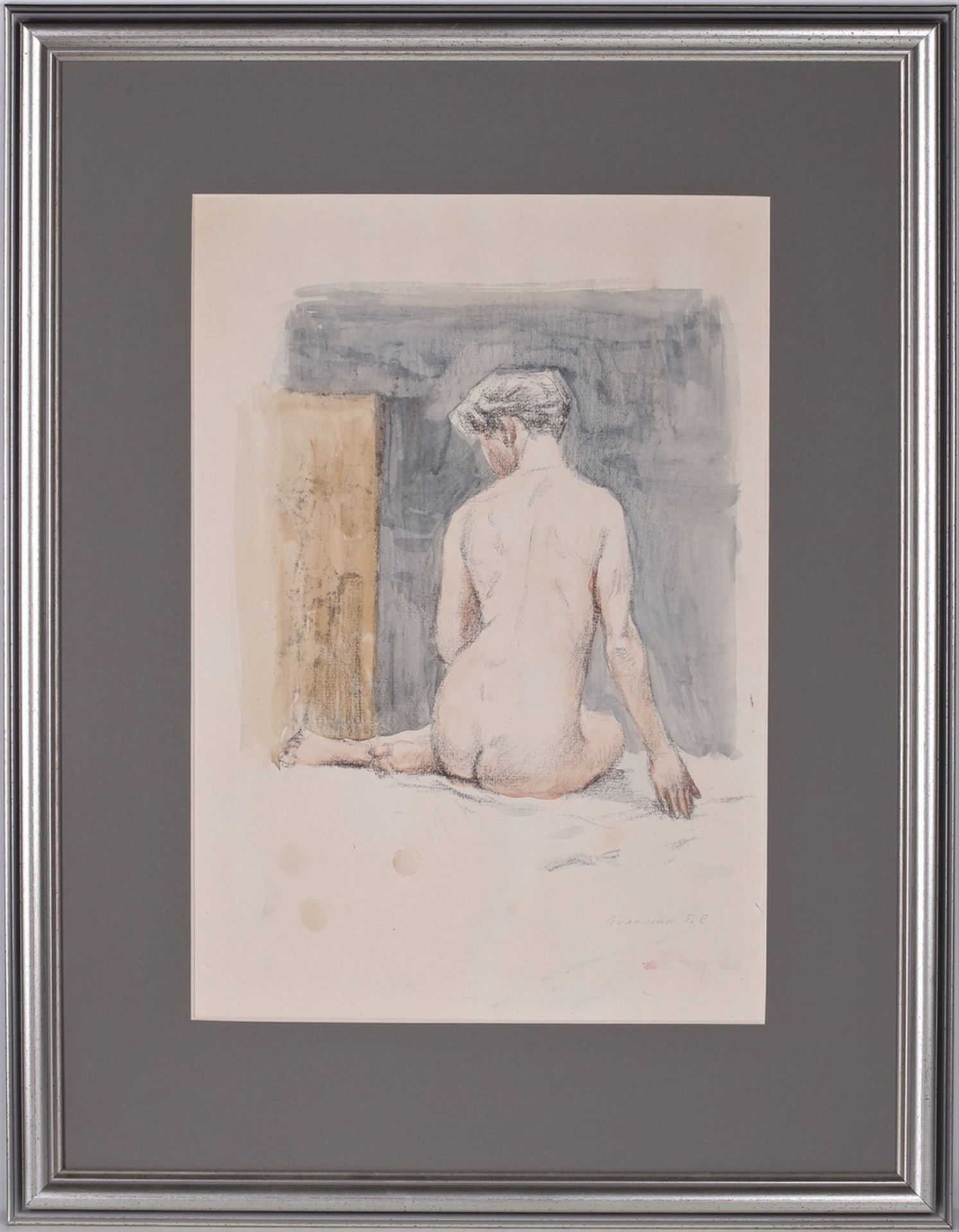 [Russian art]. Voloshin, G.S. Sitting nude. Signed and framed. 1950. Paper, pencil, watercolor. 39, - Bild 3 aus 4