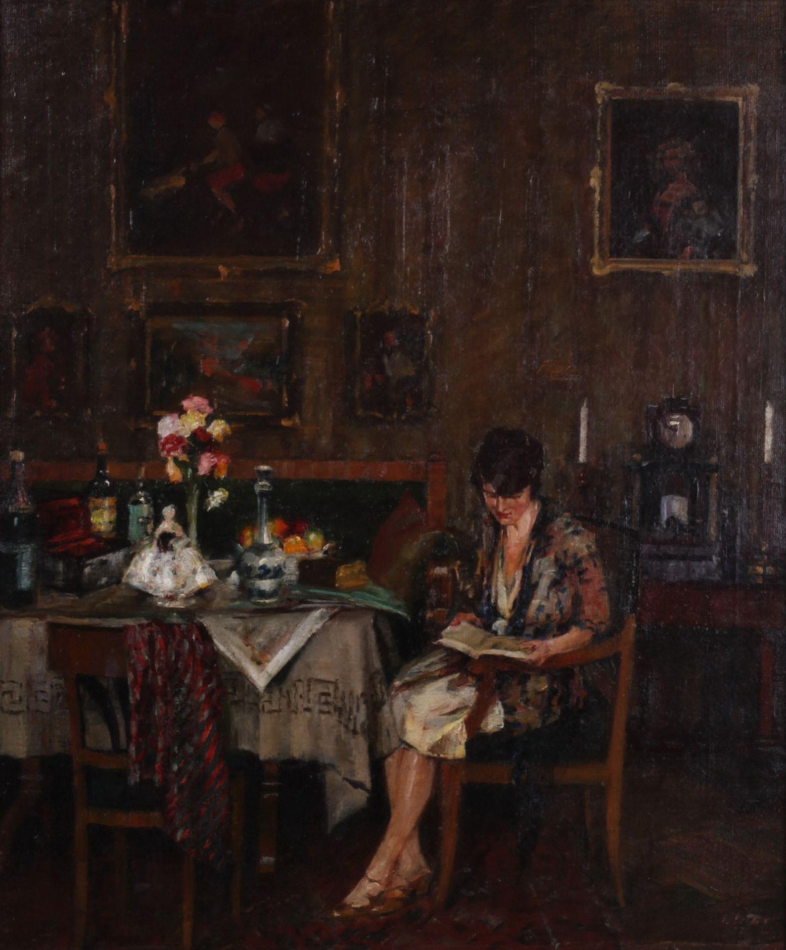 Charles Vetter (1858-1936). Genre scene in the living room. 1930. <br>Oil on canvas. 61x51 cm. Frame