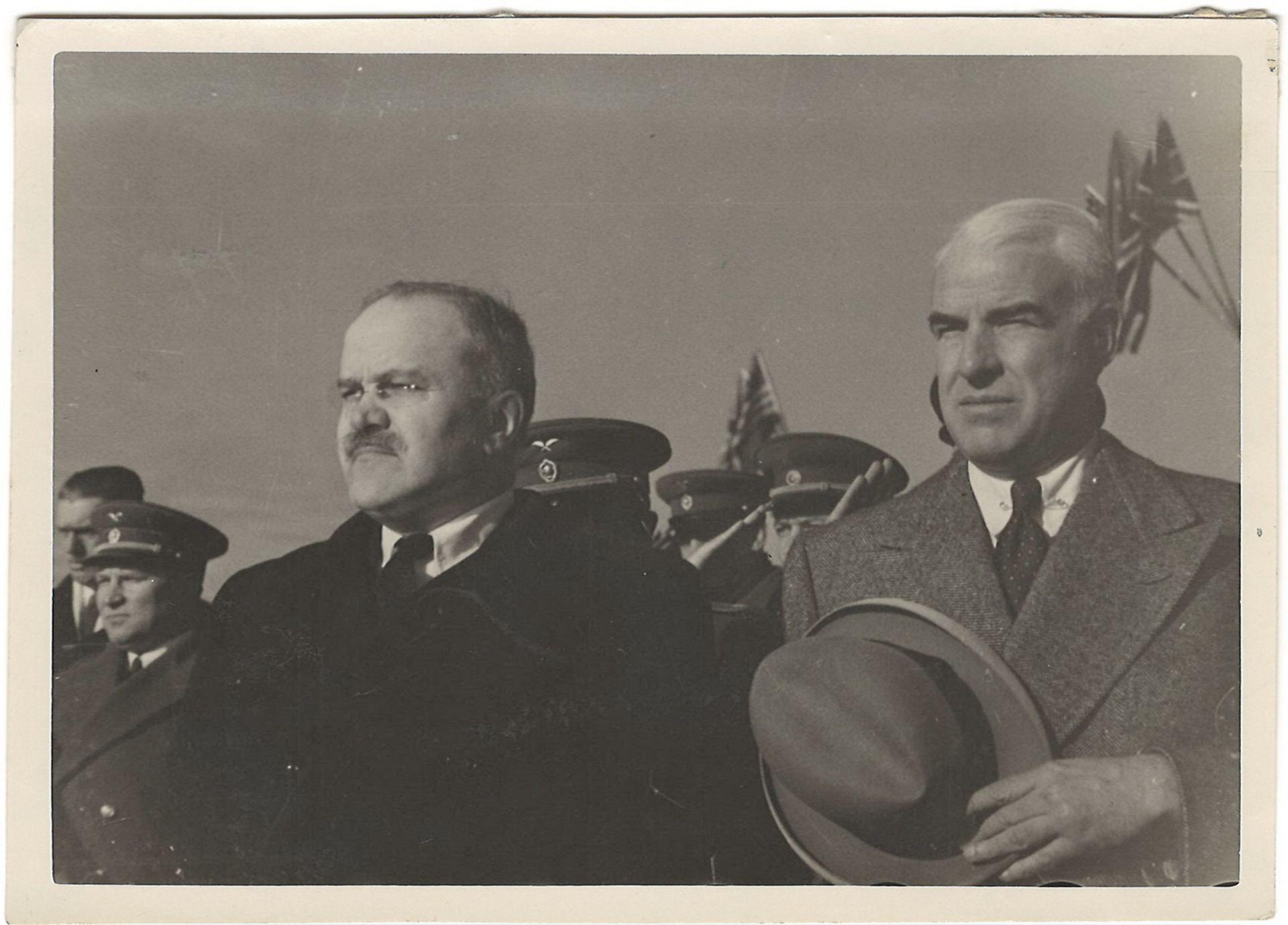 [Soviet]. Vyacheslav Molotov and Edward Stettinius Jr. on Yalta Conference. Photograph. 1945.<br>10x