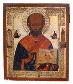 "Russian icon ""St. Nicholas Wonderworker"". - 19th century. - 31,5x26,5 cm.<br>Tempera on wood with gi"
