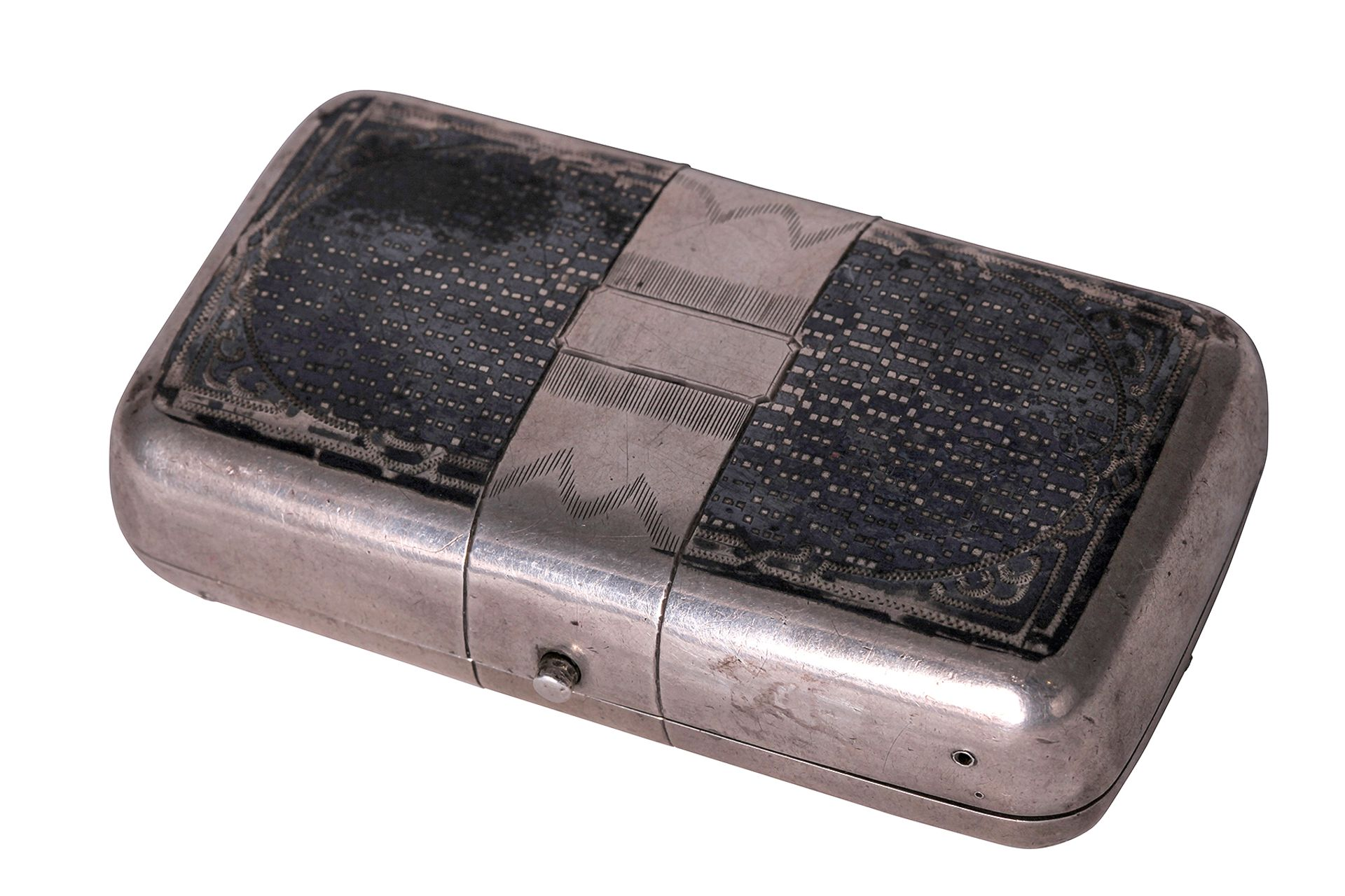 """Silver pill box. The end of the 19th century. <br>Marks: 84 hallmark, master's initials """"NF"""". Dimens"""