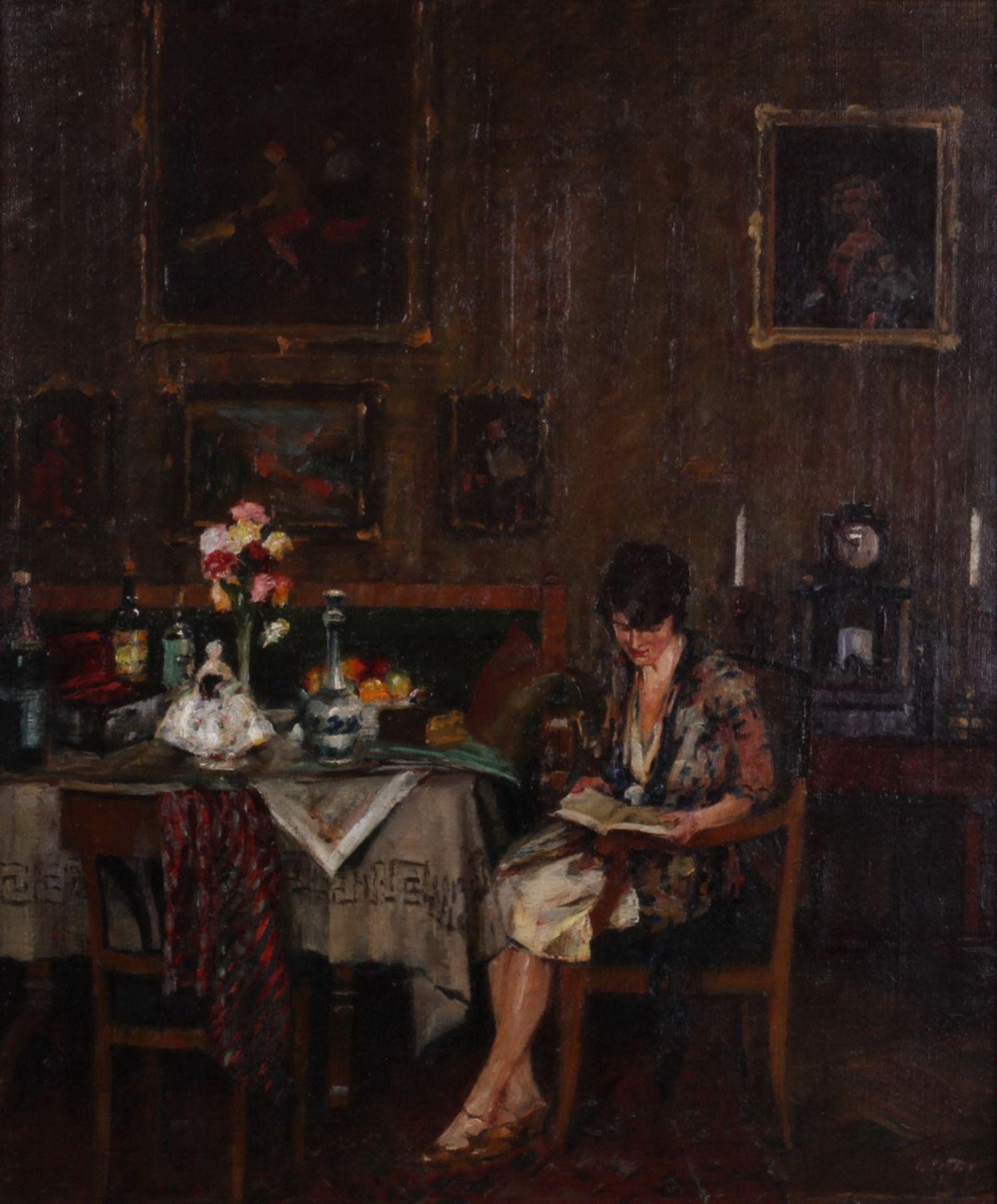 Charles Vetter (1858-1936). Genre scene in the living room. 1930. <br>Oil on canvas. 61x51 cm. Frame - Bild 2 aus 3