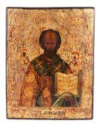 "Russian icon ""St Nicholas the Wonderworker"".<br>Wood, tempera, levkas.  Russia, 19th century. 23,4x1"