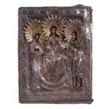 """Russian icon """"Deisis"""" with silver oklad. - 19th century; 12x9 cm.<br>Tempera on wood, with gilding,"""