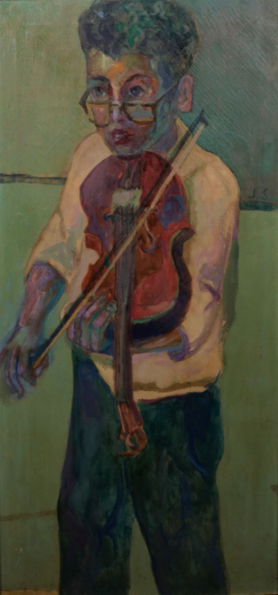 Solman, Joseph. A young boy with a violin. Signed and framed. 1950s. Oil on canvas. 97x46 cm.