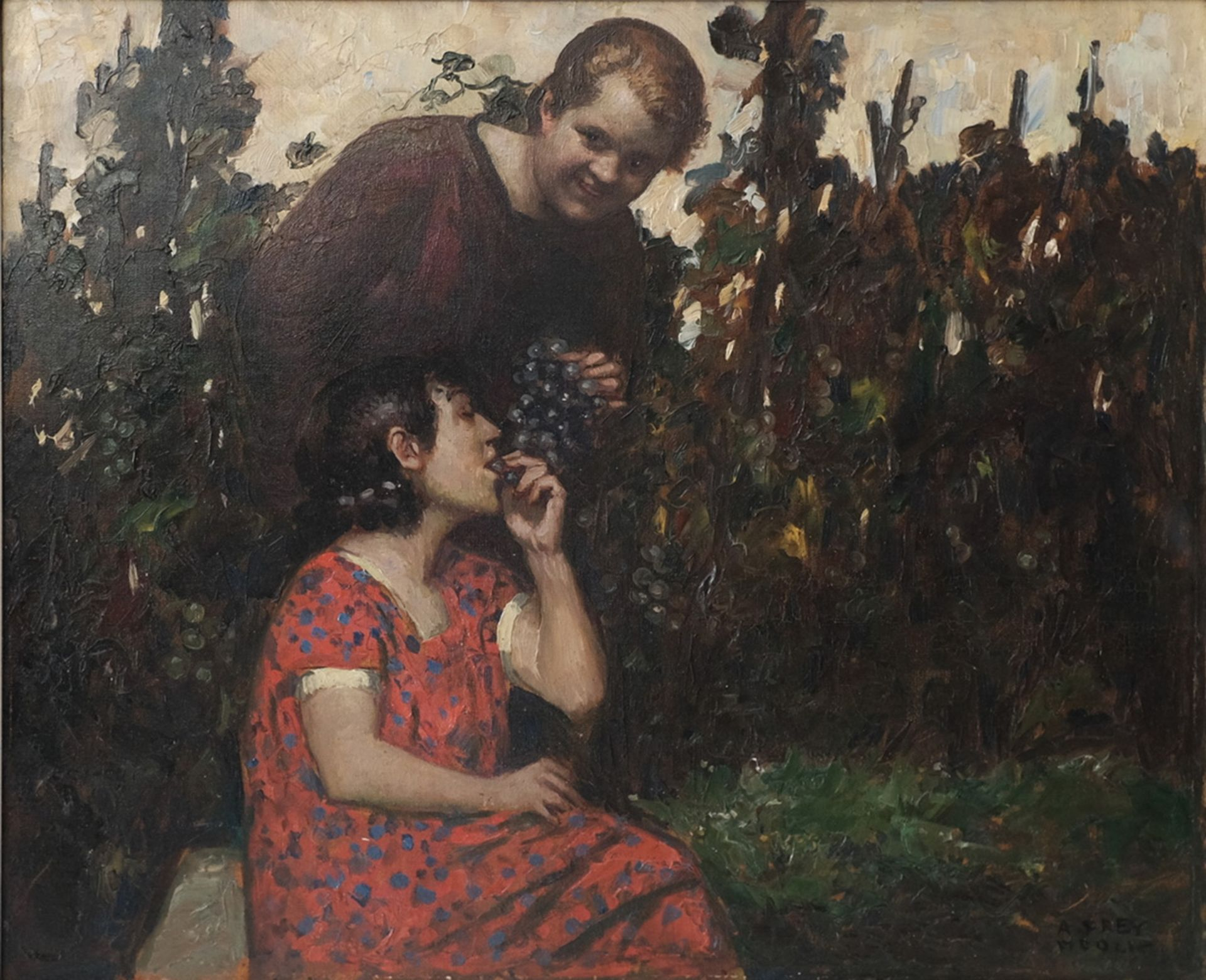 Frey-Moock, Adolf. Grapevine. [The first half of the ХХ century]. Oil on canvas. 50,5x60 cm.<br>Sign