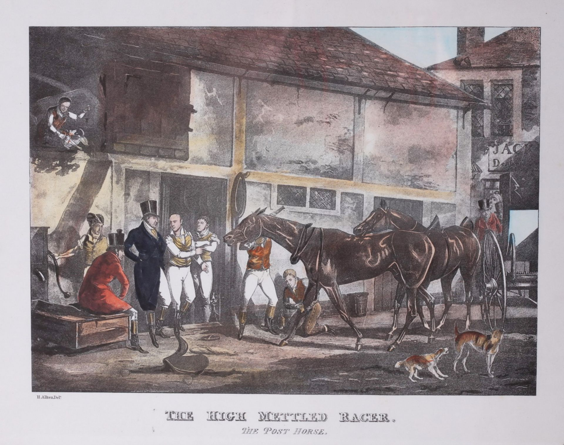 """Alken, Henry. Lithograph """"The High Mettled Racer. The post horse"""".<br>Framed. Middle of the XIX cent"""