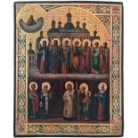"""Russian icon """"The Protecting Veil of the Mother of God"""". - 19th century; 27x22 cm.<br>Oil on wood, l"""
