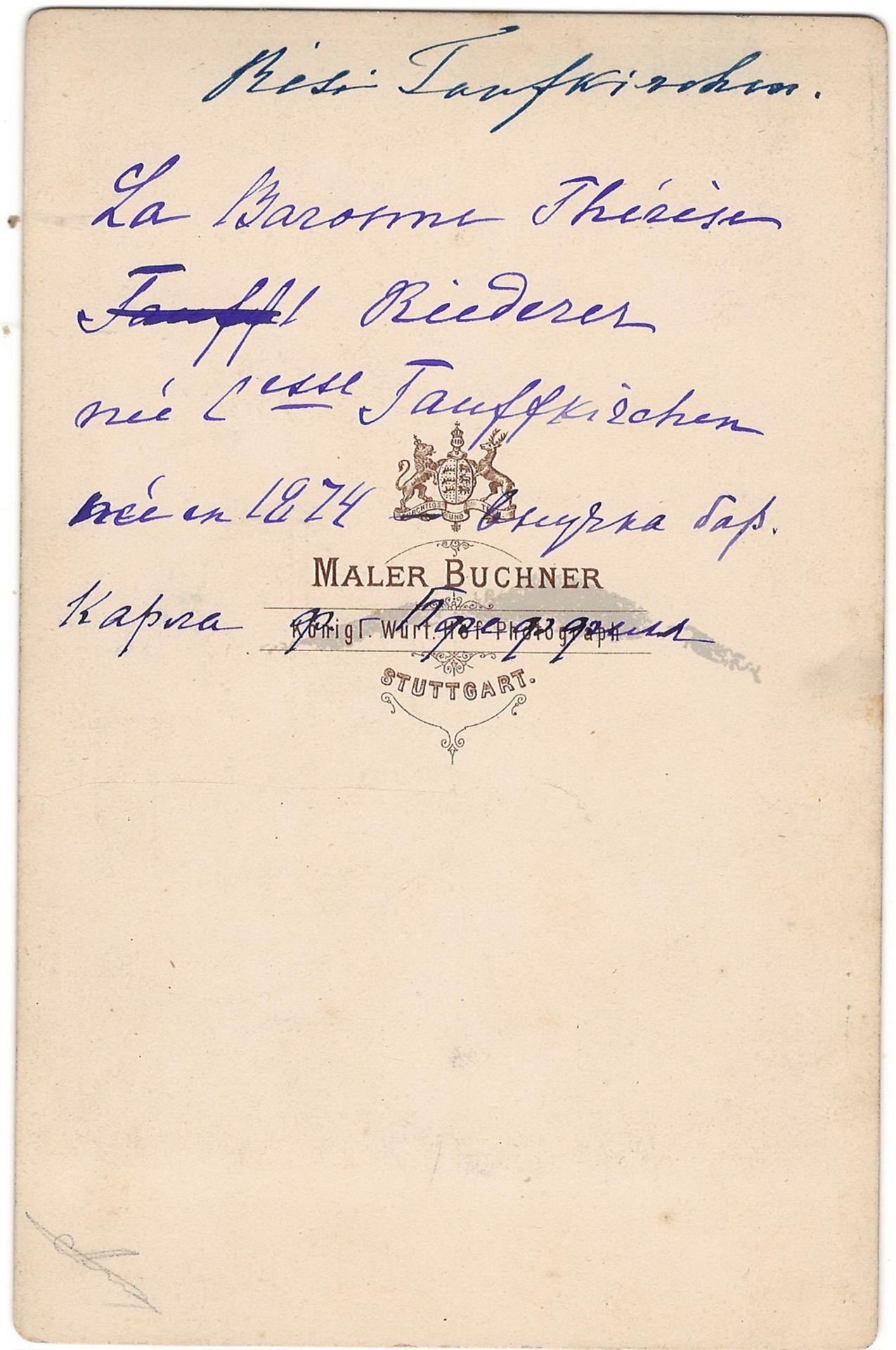 Buchner, M. Cabinet portrait of baroness Teresa Riderer-Taufkirkсner. Photograph. Author's print. [1 - Bild 2 aus 2