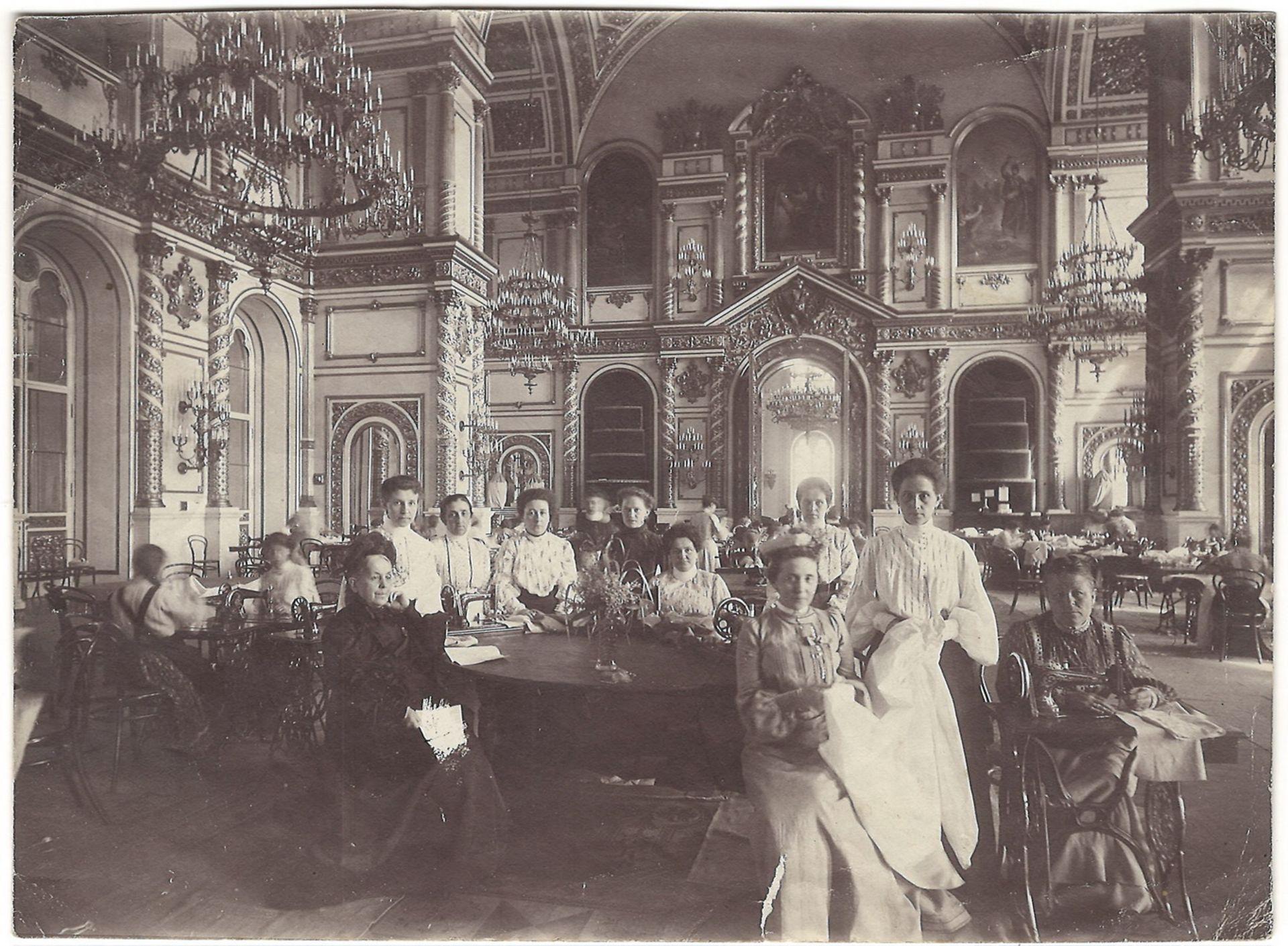[Russian Empire]. Grand Duchesses  in Aleksander's hall of Grand Kremlin Palace. Photograph. Vintage