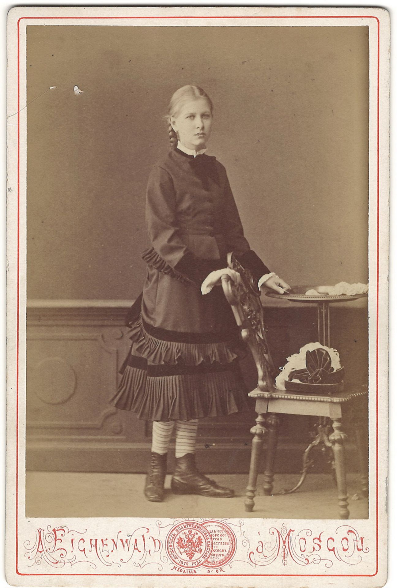 [Russian Empire]. Eichenwald, A. Cabinet portrait of a woman. Photograph. Author's print. Moscow, [1