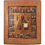 """Russian icon """"Saint Nicholas Wonderworker"""" with scenes from his life. - 19th century; 35x31 cm.<br>T"""