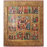 "Russian icon ""Resurrection of Christ"" within surround of Twelve major liturgical feasts. - 19th cent"