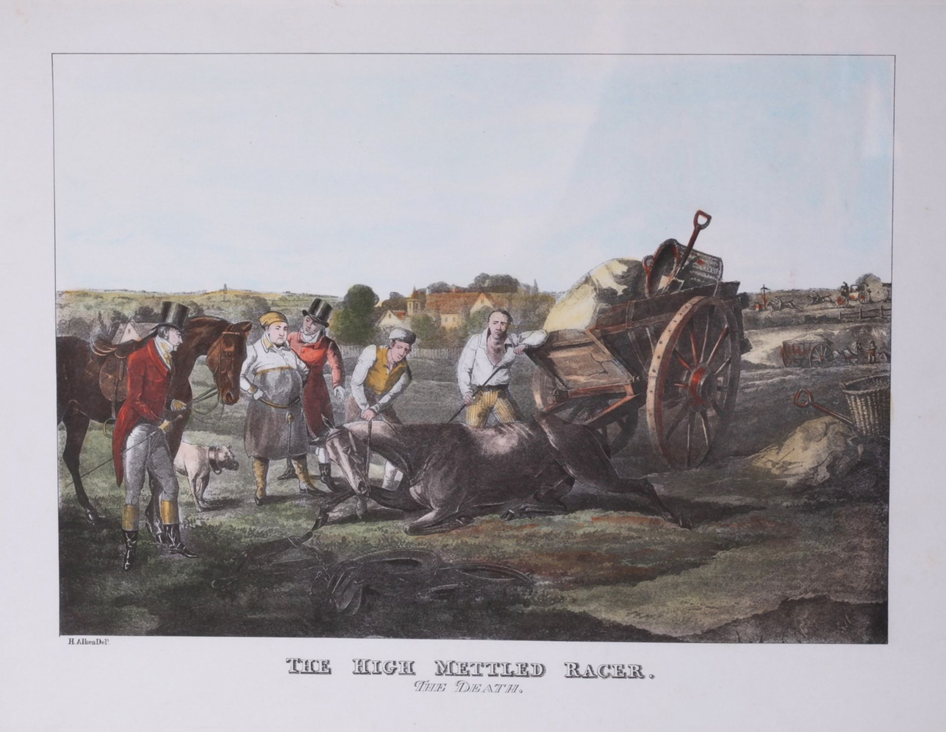 """Alken, Henry. Lithograph """"The High Mettled Racer. The death"""".<br>Framed. Middle of the XIX century."""
