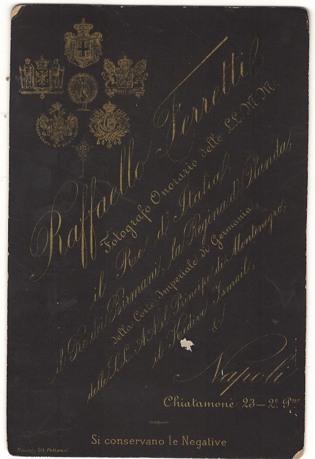 Ferretti, R. 2 cabinet portraits of prince Henry de Cetto. Photographs. Author's prints. [1885]. 16, - Bild 2 aus 2