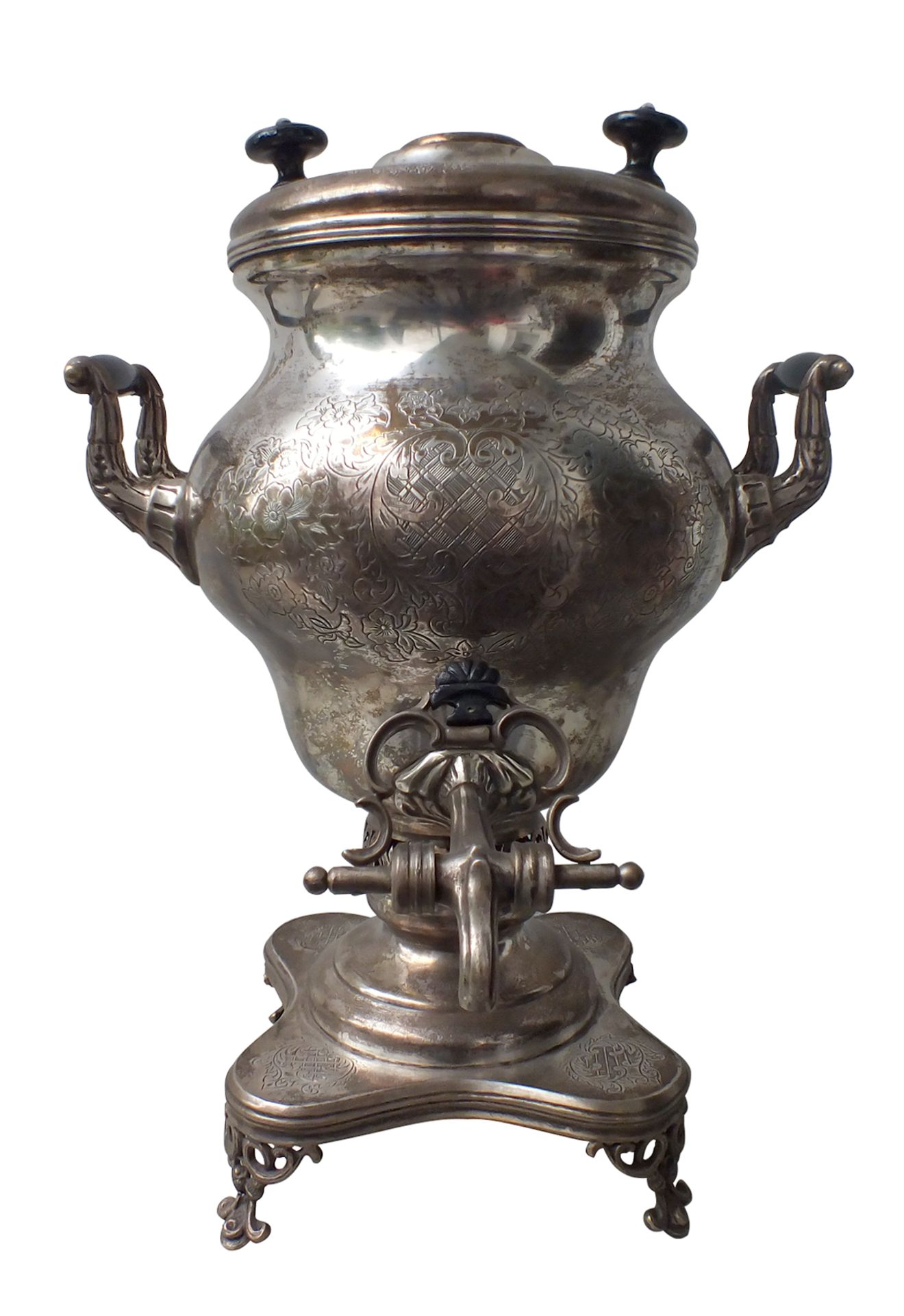 """Russian Samovar. Moscow.<br>Silver. Floral ornament. Wood. Marks: """"84"""" hallmark, Moscow town arms """"S"""