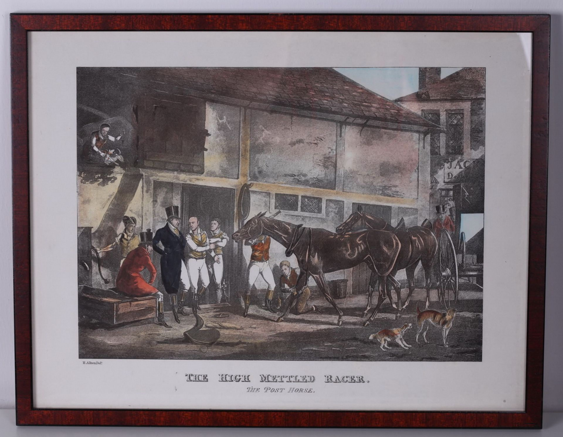 """Alken, Henry. Lithograph """"The High Mettled Racer. The post horse"""".<br>Framed. Middle of the XIX cent - Bild 3 aus 4"""