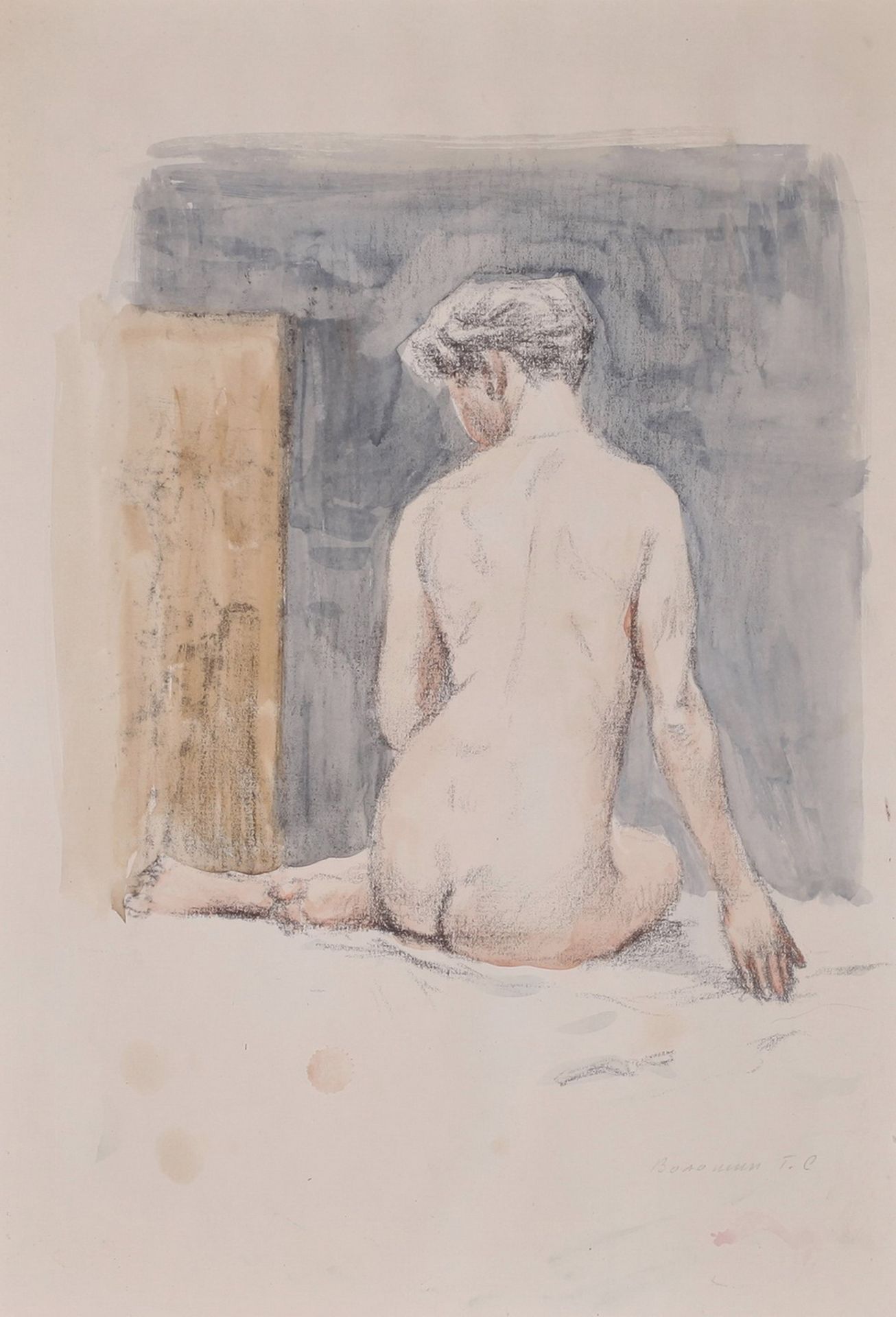 [Russian art]. Voloshin, G.S. Sitting nude. Signed and framed. 1950. Paper, pencil, watercolor. 39, - Bild 2 aus 4