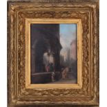 Pierre-Nolasque Bergeret (1782-1863). Genre scenes next to a church.<br>Framed.  1850s. Wood, oil. 2