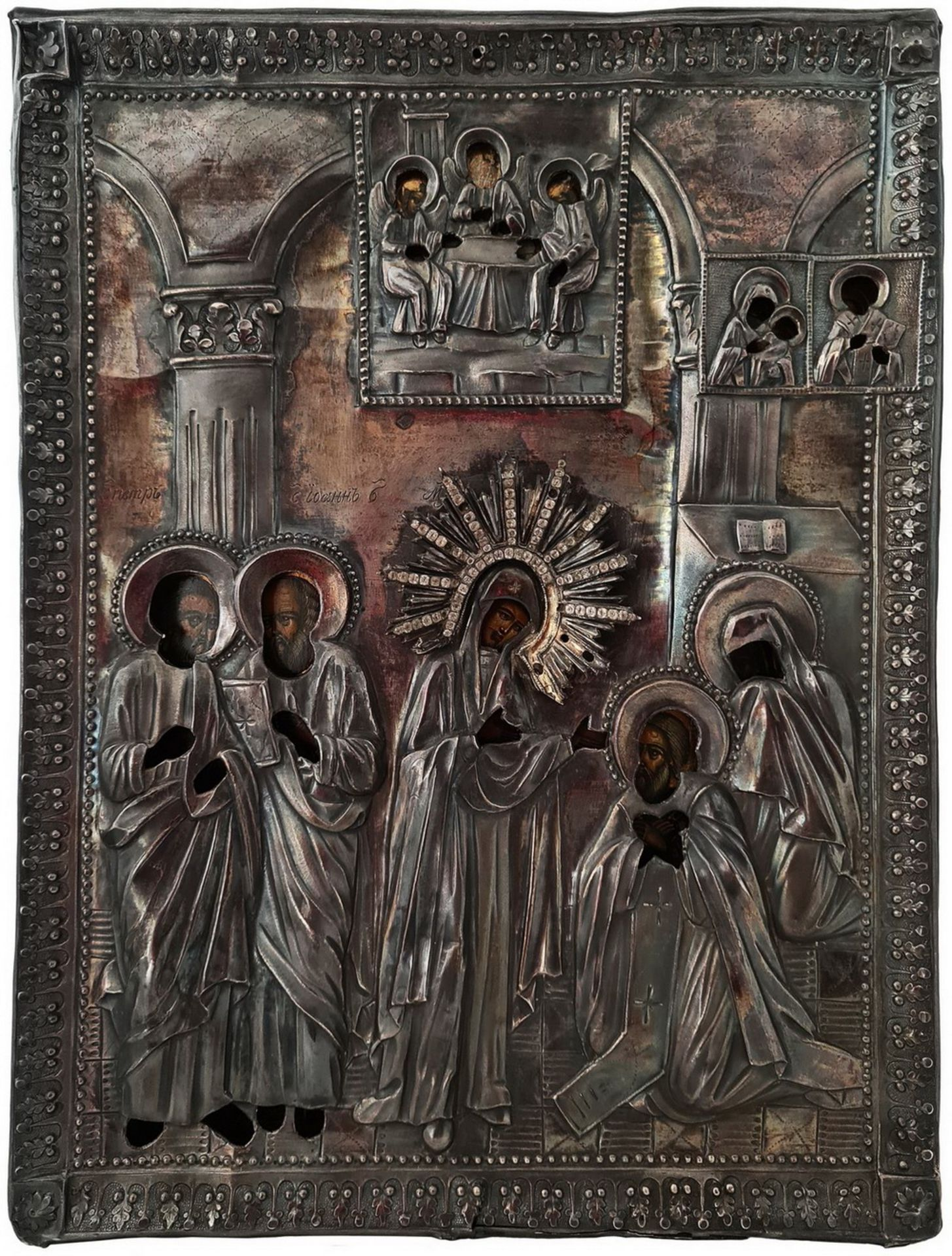 "Russian icon ""The Appearance of The Mother of God to St Sergey of Radonezh"". - 19th century; 30x23 c"