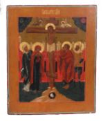 """Russian icon """"The Crucifixion of Christ"""". - 19th century. - 36х30 cm.<br>Tempera on wood, with gildi"""