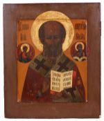 "Russian icon ""St. Nicholas Wonderworker"". - 19th century. - 32x27 cm.<br>Tempera on wood, with gildi"