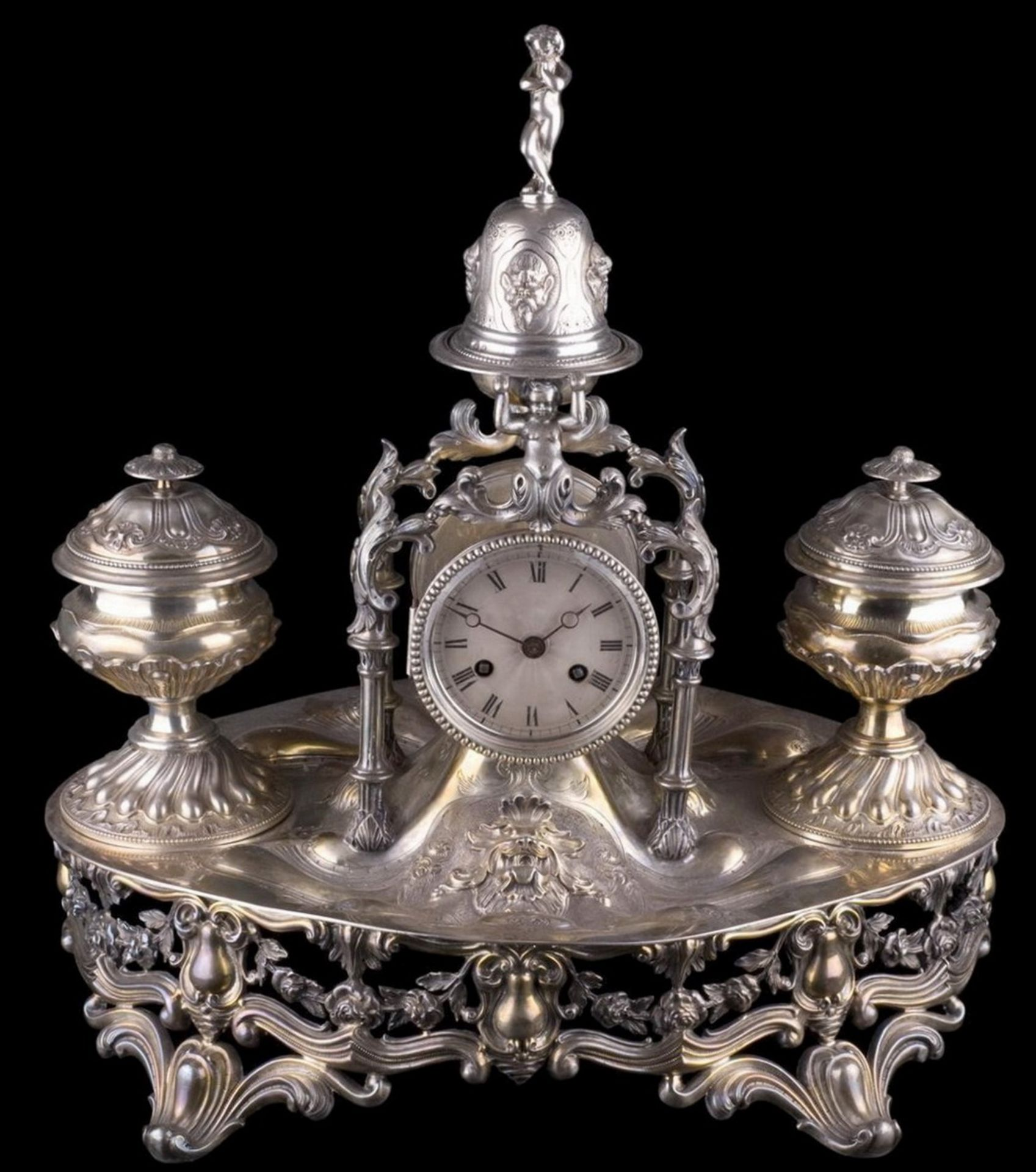 Fine quality silver inkstand with the table clock and the bell. Emile Hugo workshop. France, Paris.  - Bild 2 aus 2