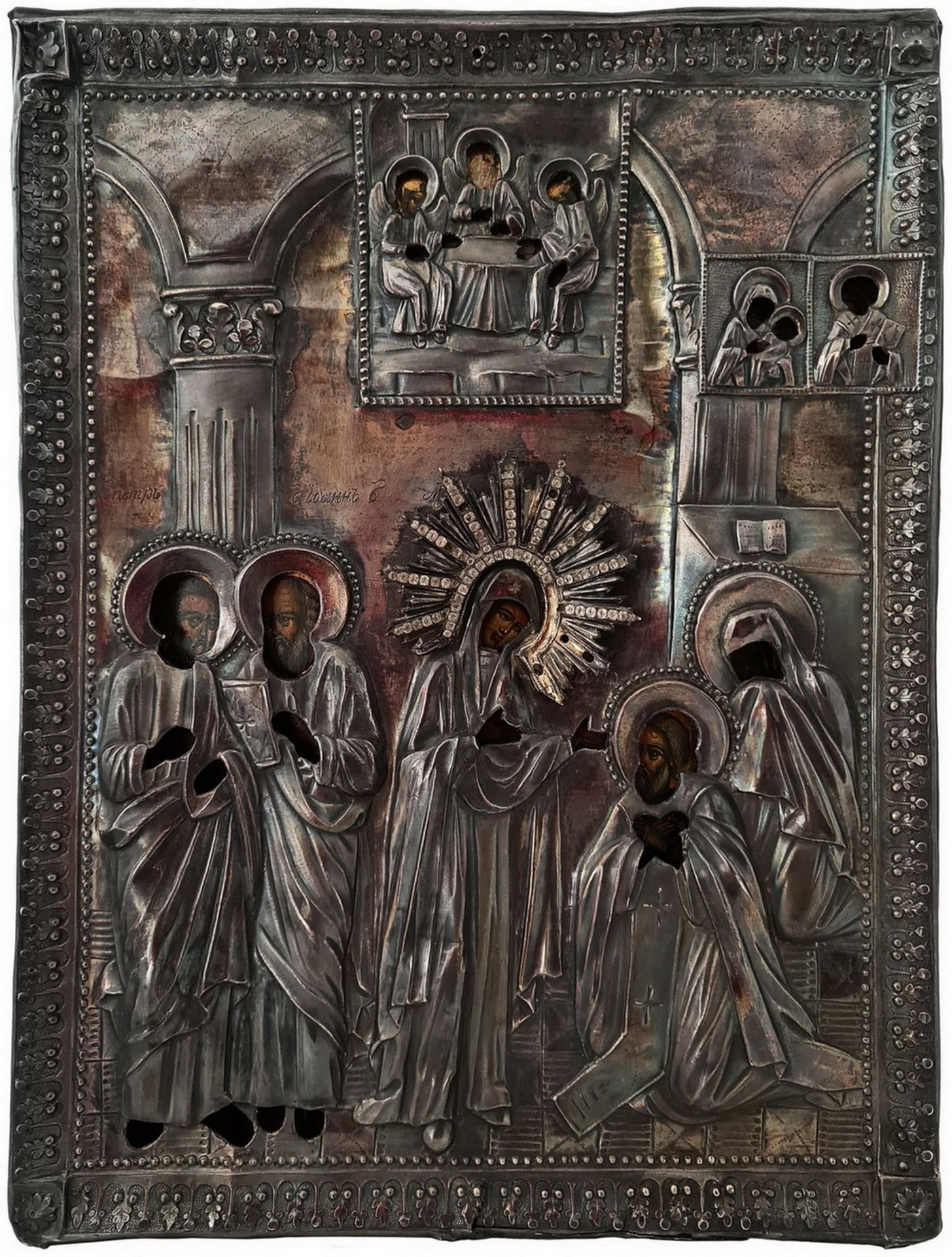 "Russian icon ""The Appearance of The Mother of God to St Sergey of Radonezh"". - 19th century; 30x23 c - Bild 2 aus 4"
