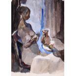 Shavrin, Valentin. Breastfeeding mother. Paper, watercolor. 41x28,5 cm. 1965. Paper, watercolor.
