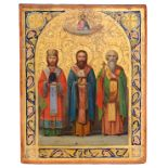 """Russian icon """"The Three Church Fathers, Basil the Great, Gregory the Theologian and John Chrysostom"""""""