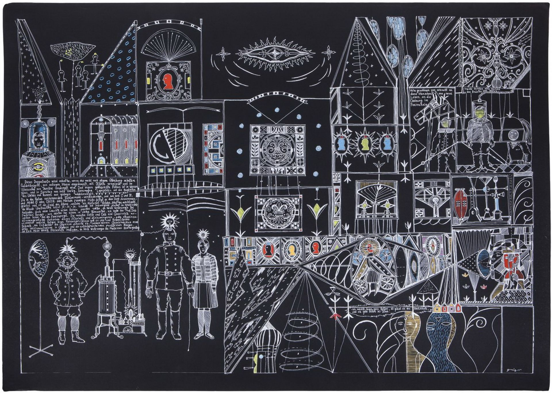 "Grieg, V. ""HochschuleKino"". 2006. Paper, gel, gel pen, gouache. 70x100 cm.<br>Signed. Phillips (Dece - Bild 2 aus 2"