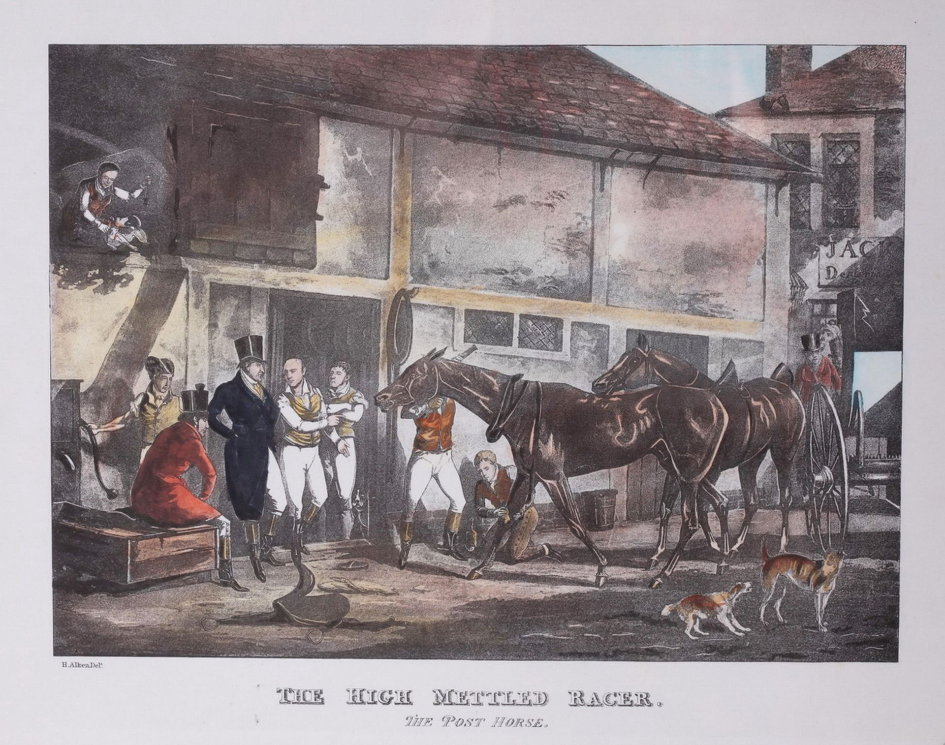 """Alken, Henry. Lithograph """"The High Mettled Racer. The post horse"""".<br>Framed. Middle of the XIX cent - Bild 2 aus 4"""