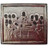 """Russian icon """"Dormition of the Mother of God"""" in silver oklad. - Saint-Petersburg, 19th century; 4x5"""