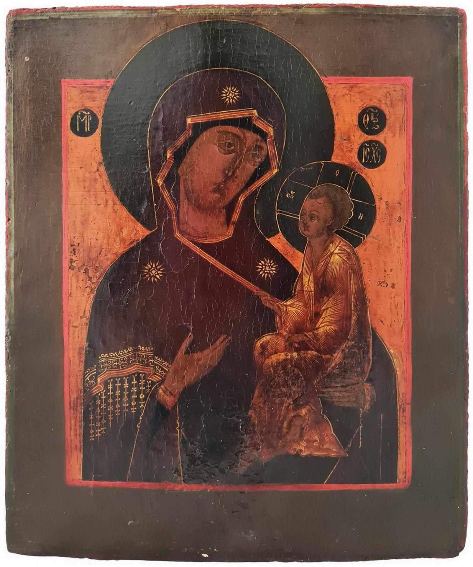 "Russian icon ""Mother of God Tihvinskaya"". - 19th century; 31x26 cm.<br>Tempera on wood, levkas. - Bild 2 aus 2"