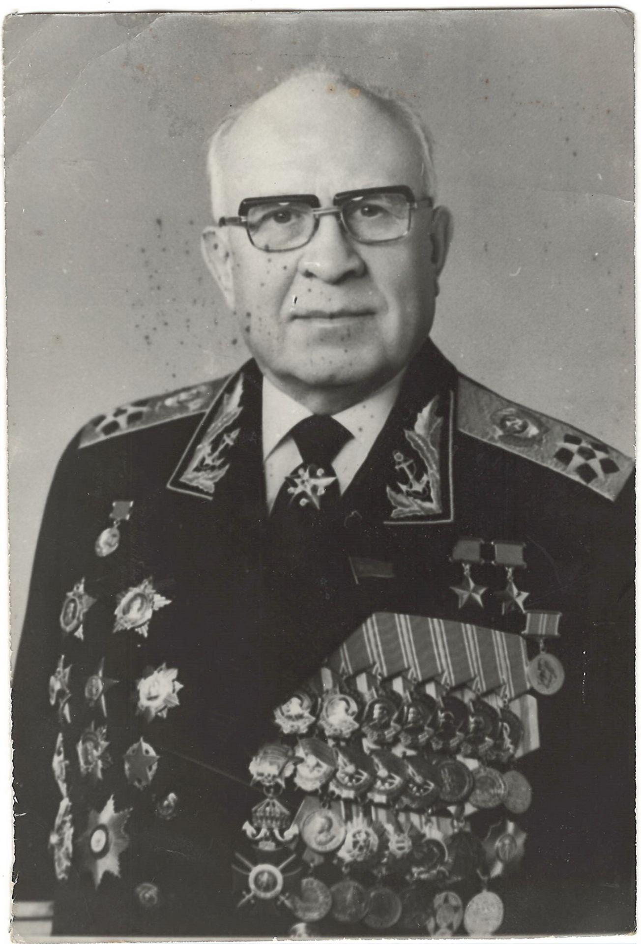 Portrait of admiral of the fleet of the Soviet Union Sergey Gorshkov. Photograph. 1980s.<br>18x12 cm