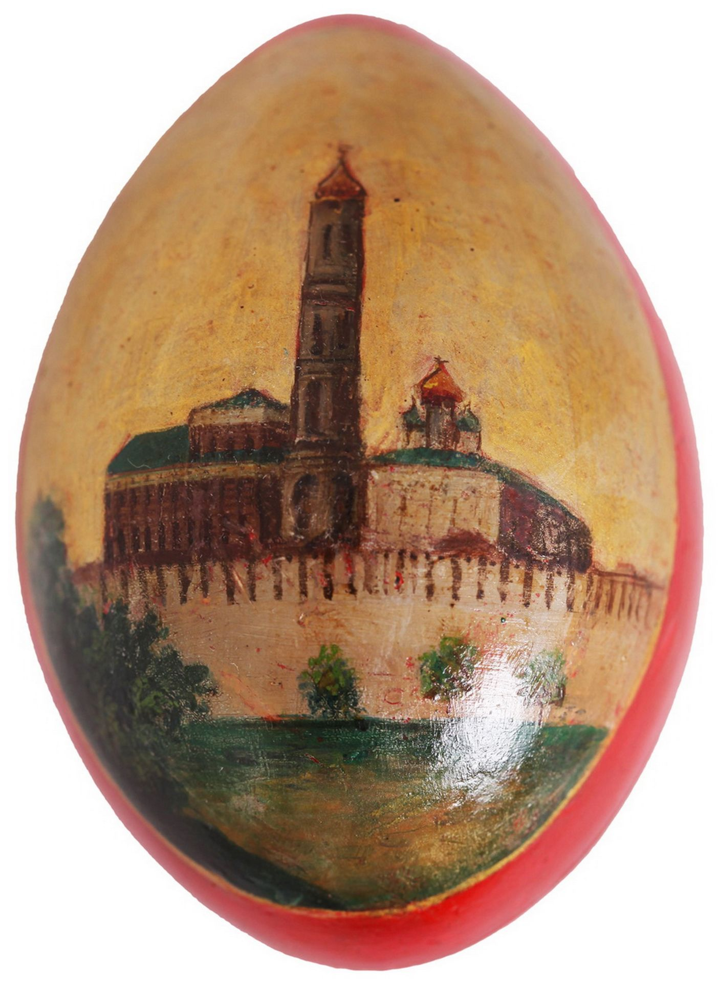 Russian Easter egg with a lacquer miniature. - Lukutin factory, second half 19th century. - 10x7 cm. - Bild 3 aus 5
