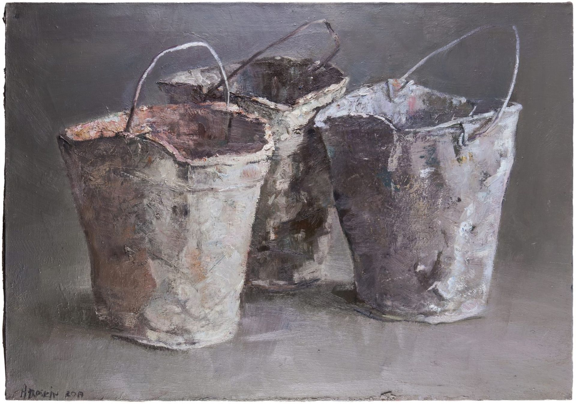 Agroskin, S.E. Buckets. 2017. Oil on canvas. 70x100 cm.<br>Signed. <br>Sales: Lyon &amp; Turnbull (A