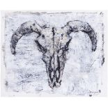 Agroskin, S.E. A scull. 2020. Paper, mixed media. 41x51 cm. <br>Signed. Sales:  Lyon &amp; Turnbull