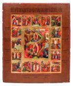 "Russian icon ''Twelve major liturgical feast"". - 19th century. - 36,5x31 cm.<br>Tempera on wood (kov"
