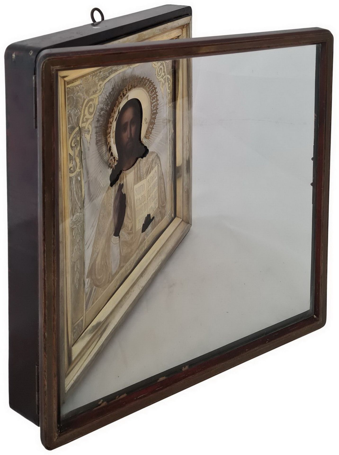 """Russian Icon """"Christ Pantocrator"""" with silver oklad and kyot. - Moscow, 19th century.; 35x30 cm. <br - Bild 6 aus 9"""