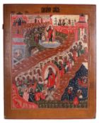 """Russian icon """"Resurrection of Christ and The Descent into hell"""". - 19th century. - 111x89 cm.<br>Tem"""