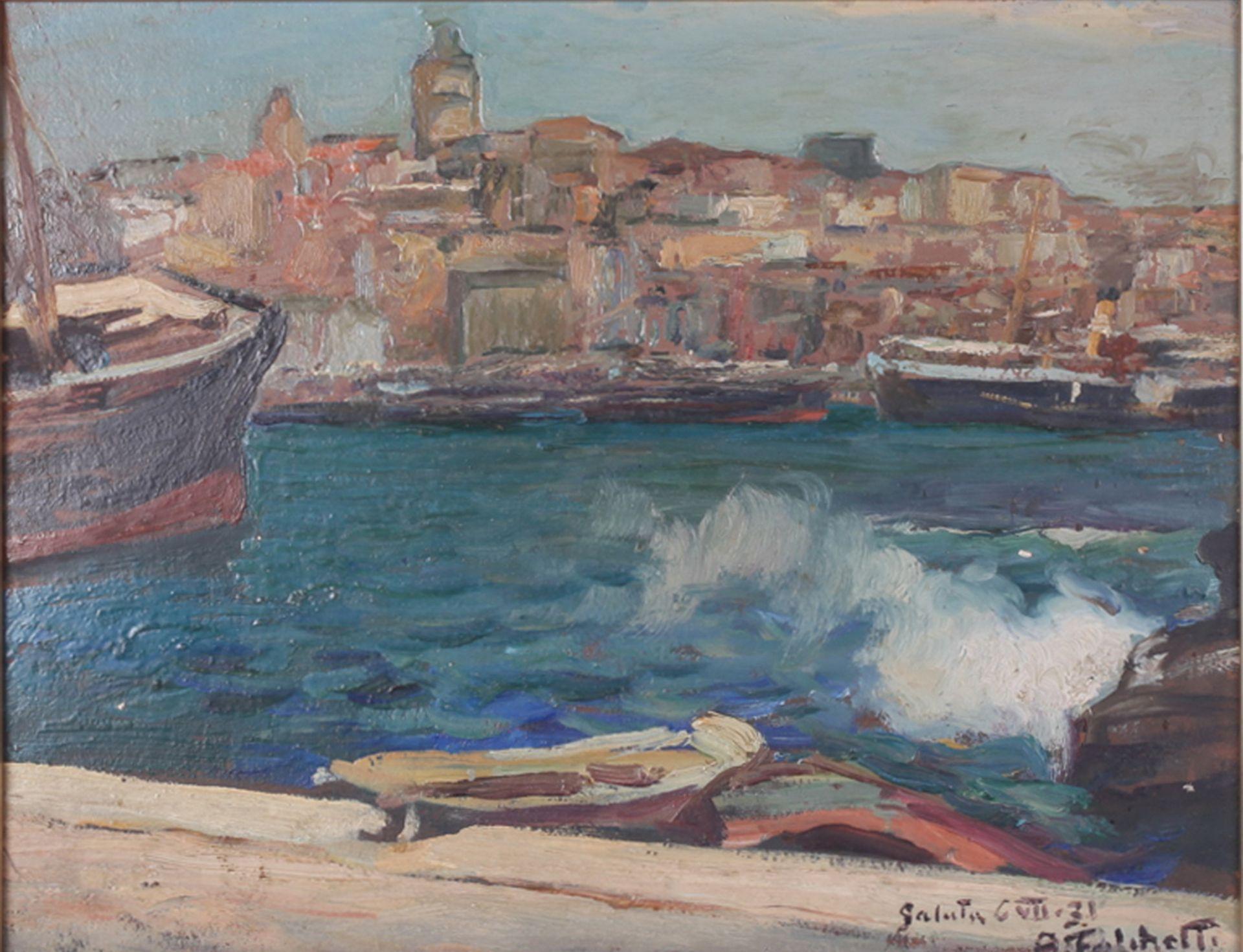 Falchetti, Alberto. Galuta. 1931. Oil on canvas. 36x45 cm.<br>Signed and framed.