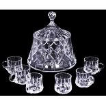 Russian Lead glass punch set: Shtof and 6 cups. Russia, early 20 century.<br>Shtof: H=28 cm, D=25 см