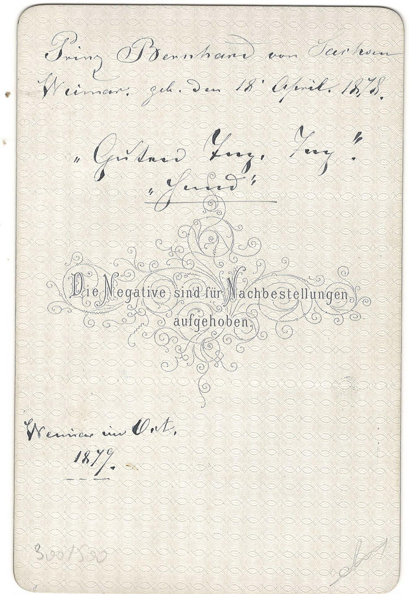 [Russian Empire]. Hartzel, F. Cabinet portrait of prince Bernhard von Sachsen-Weimar. Photograph. Au - Bild 2 aus 2
