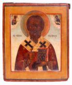 "Russian icon ""St. Nicholas Wonderworker"". - 19th century. - 32x27 cm.<br>Tempera on wood with gildin"