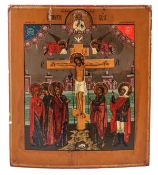 """Russian icon """"The Crucifixion of Christ"""". - 19th century. - 35x31 cm.<br>Tempera on wood, levkas."""