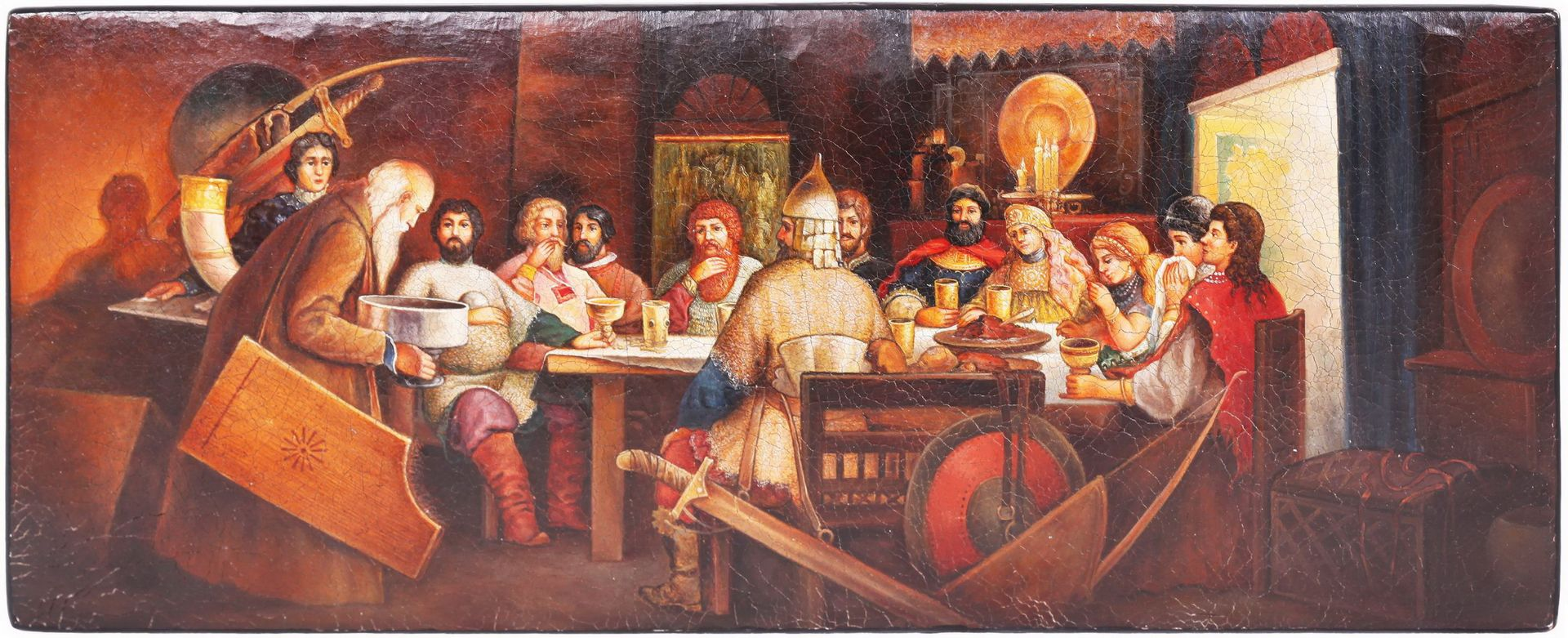 Russian papier mache lacquered box painted with a boyar's feast. - Lukutin manufactory, 19th - Bild 4 aus 5